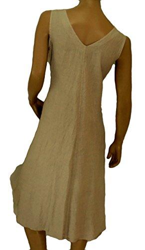 Mein Design Lagenlook de Mallorca Damen Kleid HE600 Tunika Leinen Taschen A-Linie ohne Arm asymmetrisch zipfelig Used Look Gr. 40, 42, 44, 46 Beige