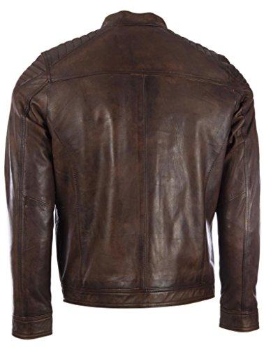 Schlank geschnittene Herren-Bikerjacke von MDK aus superweichem Echtleder mit gepolsterten Schultern Nevada Braun