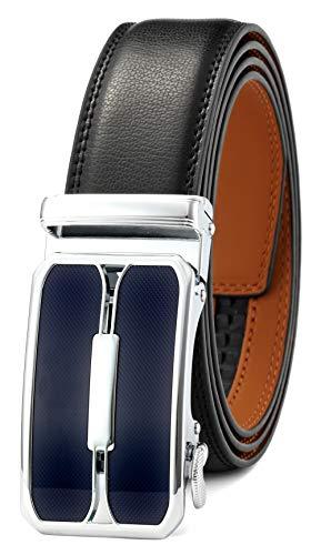 GFG Herren Gürtel,Leder Automatik Gürtel Für Herren Jeans Anzug Gürtel-3,5cm Breite-0020-110-Schwarz -