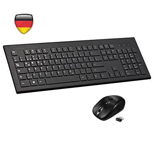 TOPELEK Tastatur Maus Set Kabellose Tastatur-Maus-Combo, Funktastatur mit Maus mit 3 stufige DPI, QWERTZ Schwarz