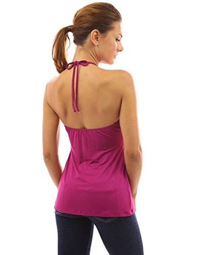 PattyBoutik Damen V-Ausschnitt Empire-Taille Top mit geometrischen Bänder ohne Ärmeln Magenta