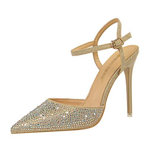 Frauen-Imitat-Diamant-Spitzschuh-Kleid pumpt Absatz-Knöchel-Wölbungs-Bügel-Gerichts-Schuhe -