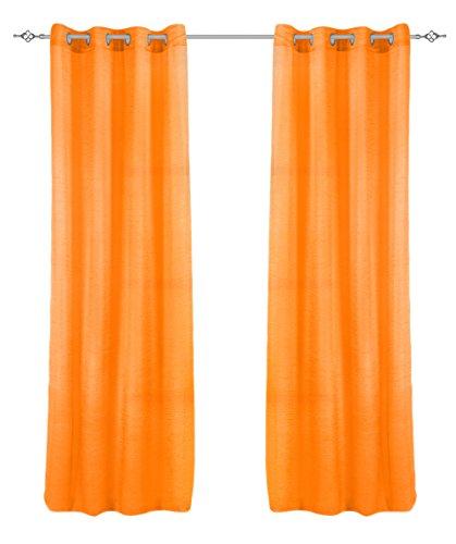 Frenessa 2X Cortinas Ollaos para Ventana Hogar Salón Dormitorio Comedor, 100% Poliéster 140x260cm, Naranja Lava