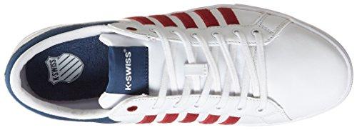 K-Swiss Adcourt '72 So~wht/Merlot/Insignia Blu~m, Baskets Basses homme Blanc - Weiß (White/ Merlot/insignia Blue/186)