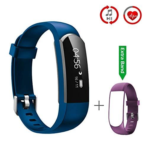 CHEREEKI Pulsera Inteligente, Fitness Tracker Monitor de Pulso Cardiaco Deporte Actividad Tracker con Control de Música/Mensaje/ Llamada Telefónica Compatible con Android y iPhone