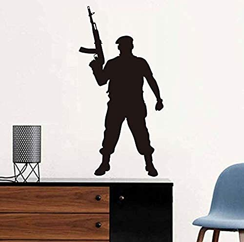 Marine Corps Applique (Wandaufkleber Mutiger Soldat Mit Waffe Marine Corp Soldat Soldat Silhouette Applique Vinyl Wandtattoo Room Decor Wohnkultur 43 * 87 cm)