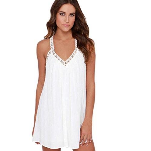 OverDose mujer vestido gasa V cuello sin mangas de encaje mini vestido (S, Blanco)