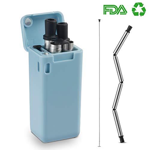 elstahl Strohhalm, Trinkhalme Wiederverwendbar Metall Stroh Umweltfreundlich mit Strohhalm Reinigungsbürste für Smoothie Cocktails Glas Milchshake Gläse (Blau) ()