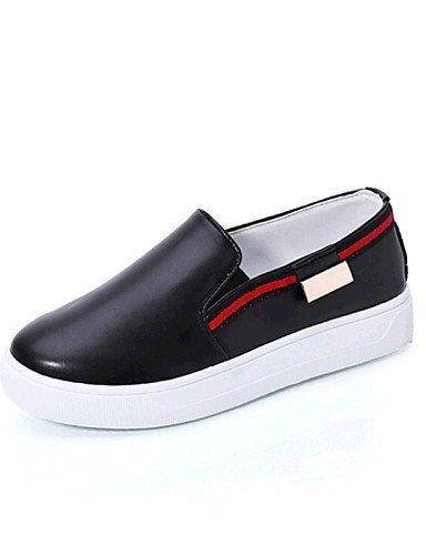 ShangYi gyht Scarpe Donna-Mocassini-Tempo libero / Casual-Comoda-Piatto-Finta pelle-Nero / Rosso / Bianco / Argento Black