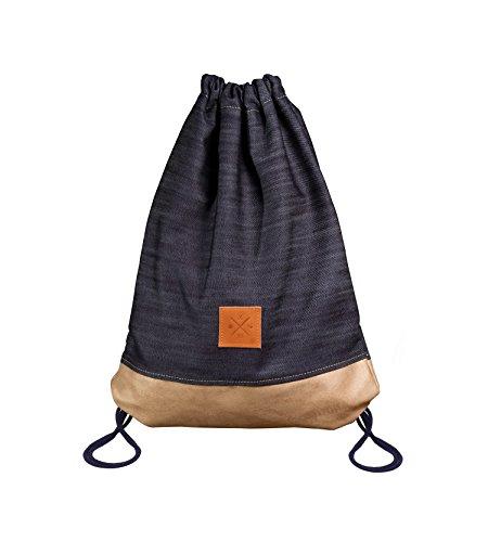 Frau Besonderen Anlass Hose Passt (Manufaktur13 Denim Wood Sports Bag - Jeans/Wildleder Turnbeutel, Sportbeutel, Gymbag, 18L Rucksack (M13))