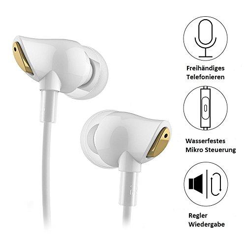 ROCK Nano Zircon Stereo Ohrhörer,In-Ear Kopfhörer mit Mikrofon,OFC Geflochtenes Kabel,3,5mm L-förmigen Plug,HIFI Power Bass,Perfekt für Rock,Pop,Jazz-Musik(1,2m Weiß)