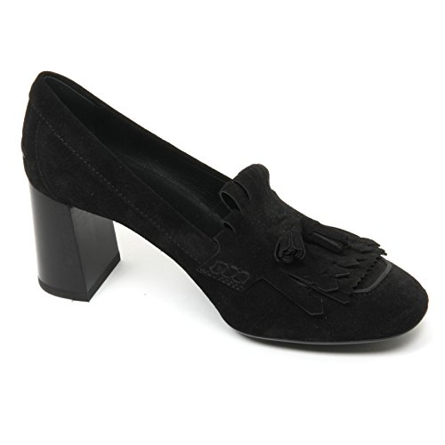 B9578 decollete donna TOD'S gomma T70 scarpa frangia nappine nero shoe woman Nero
