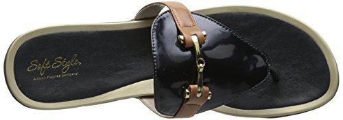 Doux Style Par Hush Puppies Rosita Robe Sandal Navy Soft Pearlized Patent Polyurethane/Tan