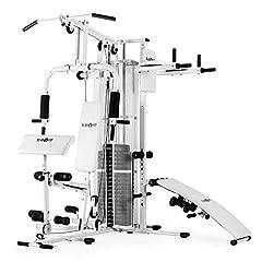 Idea Regalo - Klarfit Ultimate Gym 5000 - K5, Palestra Multifunzione, Palestra in Casa, Ideale per Butterly, Dips, Rows, Push up e SitUp, Regolazione Peso e Carrucola, Colore Bianco