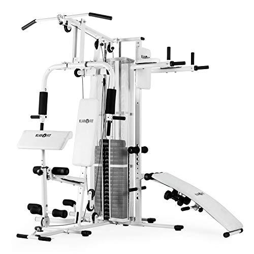 Klarfit Ultimate Gym 5000 • Máquina multiestación de musculación • Jaula de Entrenamiento • Estación Butterfly, dips Lateral, Remo, Elemento Pushup, SitUp • Regulación de Pesos y poleas • Blanco