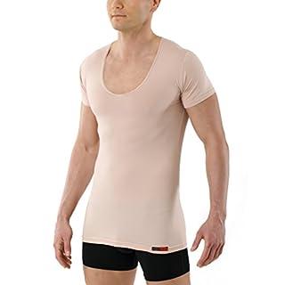 Albert Kreuz Deep-V-Unterhemd unsichtbar Business Herrenunterhemd aus Stretch-Baumwolle mit extra tiefem V-Ausschnitt Kurzarm Hautfarbe Nude 6/L