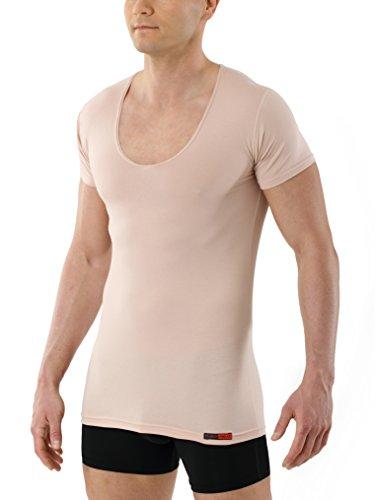 Albert Kreuz Deep-V-Unterhemd unsichtbar Business Herrenunterhemd aus Stretch-Baumwolle mit extra tiefem V-Ausschnitt Kurzarm Hautfarbe Nude 5/M