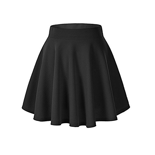 WINWINTOM Women High Waisted Basic Solid Versatile Stretchy Flared Stretchy Mini Flared Skater Skirt (L, Black)