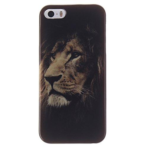 iPhone 5S Funda, iPhone SE Carcasa, Hamyi Suave TPU Gel Silicona Parachoques para Apple iPhone 5 e iPhone 5S e iPhone SE (León)