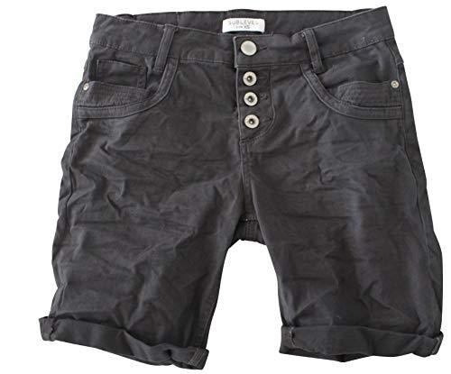 STS STS Damen Jeans Bermuda Short by Boyfriend Look tiefer Schritt Jeansbermuda mit Kontrastnähten Washed (XS, Anthra)