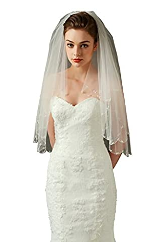 HYSENM Brautschleier Tüll atmungsaktiv transparent lang 1 Schicht für Braut Hochzeit, beige 2