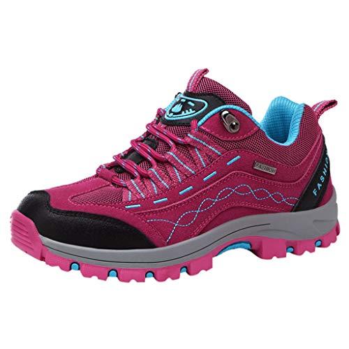 HDUFGJ Herren Damen Low Atmungsaktiv Trekking-& Wanderschuhe Leichtgewicht rutschfeste Outdoor-Schuhe Laufschuhe Bequem Mode Freizeitschuhe Faule Schuhe Turnschuhe fitnessschuhe38(Pink)