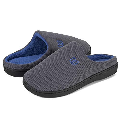 Damen Herren Hausschuhe aus Memory-Baumwolle Drinnen Pantoffeln im Herbst und Winter für Drinnen und Draussen (B Grau/Blau, 46/47 EU)