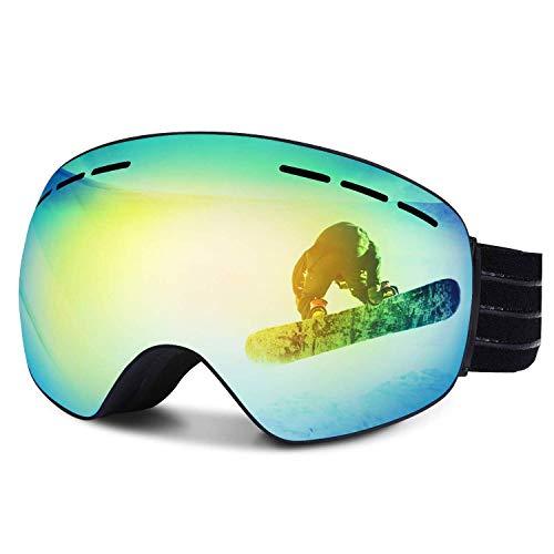 FYLINA Skibrille Snowboard Brille Schneebrille Outdoor Schutzbrillen mit Anti-Nebel UV-Schutz Zweilagige Anti-Fog PC Objektiv Austauschbare sphärische rahmenlose Linse -
