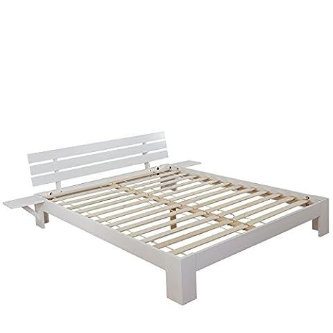 Lit Perth, grand lit, bois massif, sommier à lattes inclus, rack en pin ~ 180x200cm, laqué blanc,
