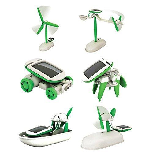 Milya spaß SuperMini Montage Spielzeug DIY pädagogische Spielzeugroboter Sonnenenergie intelligenter DIY Roboter Grün 6 in 1