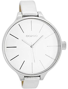 Oozoo Damenuhr mit Lederband 45 MM Weiss/Silberfarben C6840