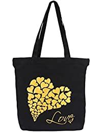 Vivinkaa Black Heart Printed Tote Bag With Zip For Women