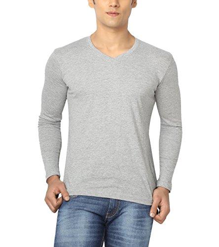 Joke Tees Solid Men's Perfect Vee Long T-Shirt(Grey Milange) (XXX-Large)