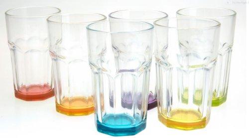 Trinkglas Cocktailglas Caipirinha Glas Transparent oder Farbig sortiert 300 ml , Stückzahl:6 Stück, Farbe:Mehrfarbig sortiert