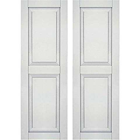 Ekena Millwork CWR12X053WHC Exterior Composite Wood Raised Panel Shutters with Installation Brackets (Per Pair), White, 12W x 53H by Ekena Millwork