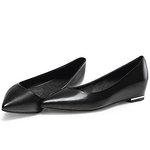 WSS chaussures à talon haut Chaussures en cuir fond plat augmenté chaussures de pointes orteils talons chunky Black
