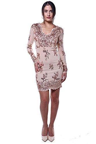 Minikleid Pailletten Langarm Kleid Abendkleid Bodycon Dress in Nude Gold Frühlingsmode 2017 Nude