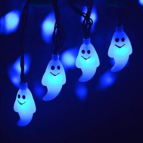 AchidistviQ Halloween Lichter Im Freien Halloween Lichter, Halloween 30LED Solarbetriebene Ghost Lampe Licht Garten Pathway Tree Decor Für Halloween Dekorationen Outdoor Indoor Party Blau