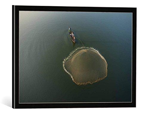 """Quadro con cornice: sarawut intarob """"Fisherman, Amarapura, Mandalay, Burma, Myanmar"""" - stampa artistica decorativa, cornice di alta qualità, 50x35 cm, nero / angolo grigio"""