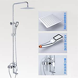 rozine Chrome polonais de Salle de Bain Set de douche robinet w/Support mural pour douchette à main Mitigeur de douche
