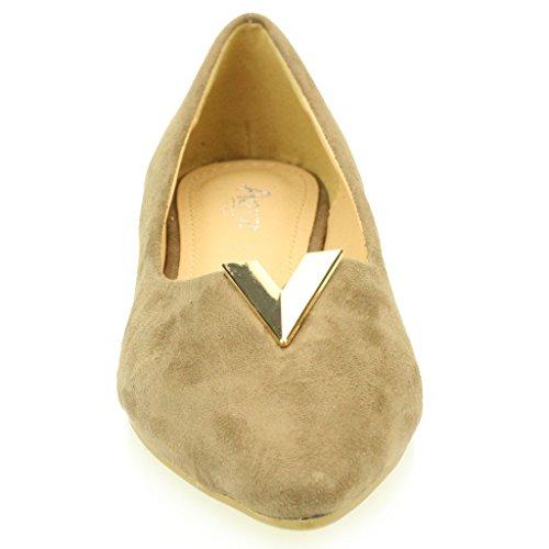 Femmes Dames Soir Casual Confort Ballerinas Plat Pompes Escarpins Sandale Chaussures Taille (Noir, Taupe, Bleu Royal) Taupe