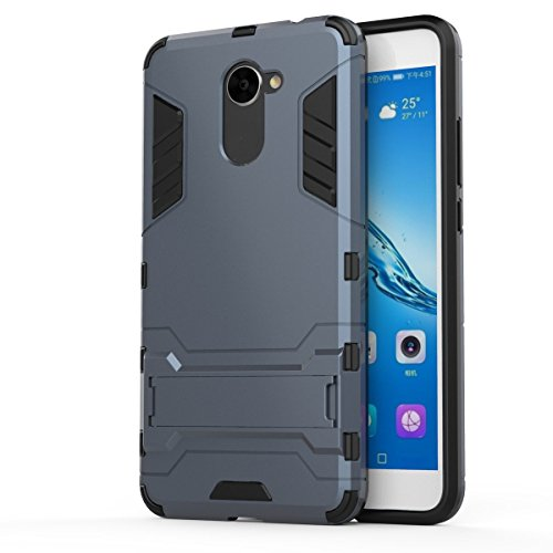 Huawei Y7 Case,SMTR Built-in Kickstand Hybrid Armor Case Detachable 2 in 1 Shockproof Tough Rugged Dual-Layer Case Cover for Huawei Y7 - Navy blue