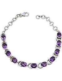 7532d2a1bbc7 RGPL Plata esterlina 925 Amatista Púrpura facetada Agradable Pulsera de Piedras  Preciosas - Joyería de la