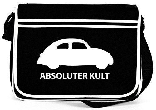 Shirtstreet24, ABSOLUTER KULT - AUTO, Retro Messenger Bag Kuriertasche Umhängetasche Schwarz