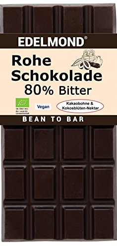 Preisvergleich Produktbild Edelmond Bio Rohe Schokolade 80%,  bitter. Nur Kakaobohnen und Kokosblütennektar. Als Genuss - Geschenk ideal! Vegan und Fair-Trade