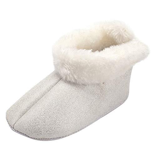 Omiky® Kleinkind Baby Mädchen Zotte Warm Halten Niedlich Bogen Schneestiefel Weiche Sohlen Krippe Schuhe Stiefel Winterstiefel (Silber, EU:12)