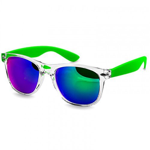 CASPAR SG017 Damen Wayfarer Sonnenbrille , Farbe:hellgrün / grün verspiegelt
