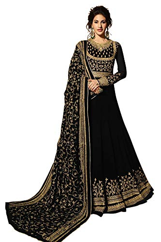 Fabzara Womens Black Color Heavy Georgette Embroidered Anarkali Suit (9083_Black_Free Size)