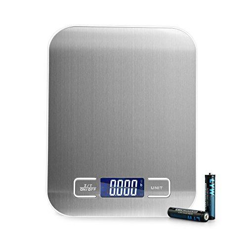 NEXVIN Digitale Küchenwaage, Elektronische Waage, Briefwaage mit 5 Wiegeeinheiten, Hohe Präzision auf bis zu 1g (5kg Maximalgewicht), Tare-Funktion, LCD-Display, Inkl Batterie