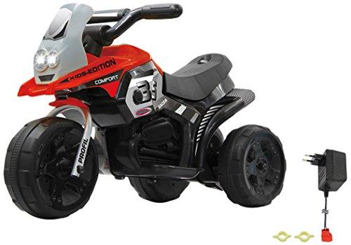 elektrisches kinderfahrzeug Jamara 460227 - Ride-on E-Trike Racer rot - 6V Akku, elektrisches Dreirad mit extra starkem Bürstenmotor, Stahlhinterachse, Stahlvordergabel, LED Frontlicht, Musik, ca. 1 Std. Fahrzeit